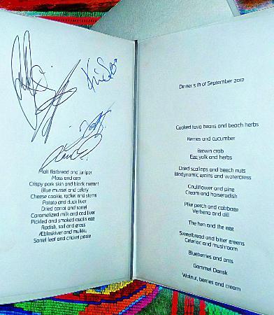 noma menu with signatures picture of noma copenhagen