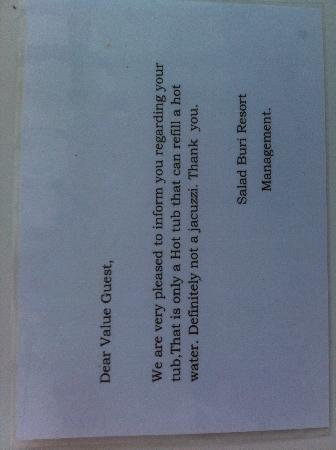 Salad Buri Resort & Spa: Strange note from management