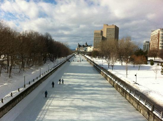 Rideau Canal: Skateway from Corktown bridge facing north