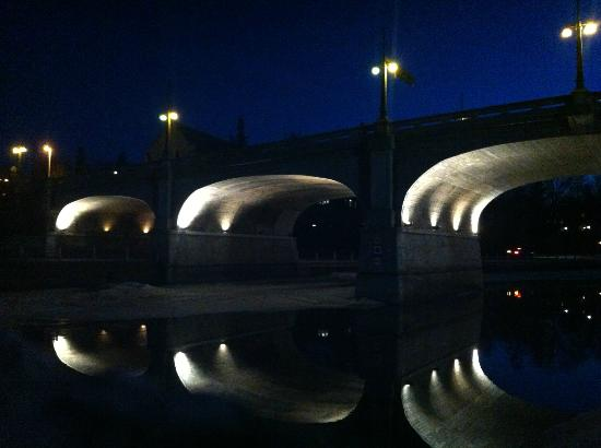 Rideau Canal: Bank St bridge at night during spring thaw