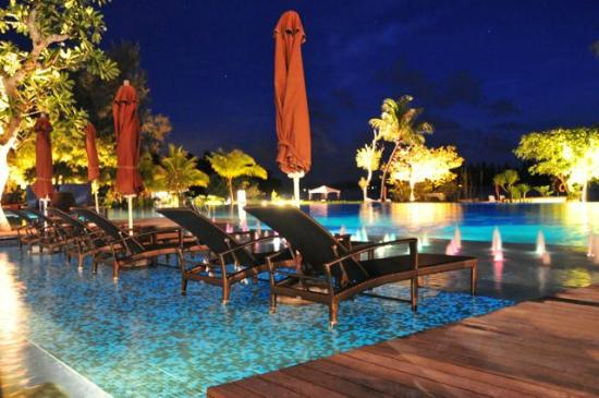 The Danna Langkawi: the swimming pool at night