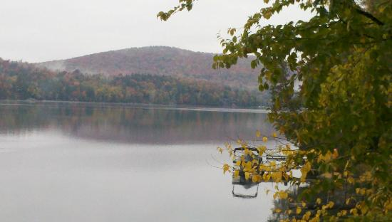 Kiwassa Lake Bed & Breakfast : View from our room on a misty fall morning