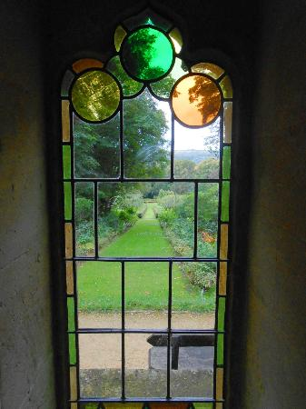 Painswick Rococo Garden: Beautiful stained glass window in the chapel where people wed.