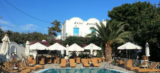 Nice pool area at Hotel Matina, Kamari, Santorini, Greece