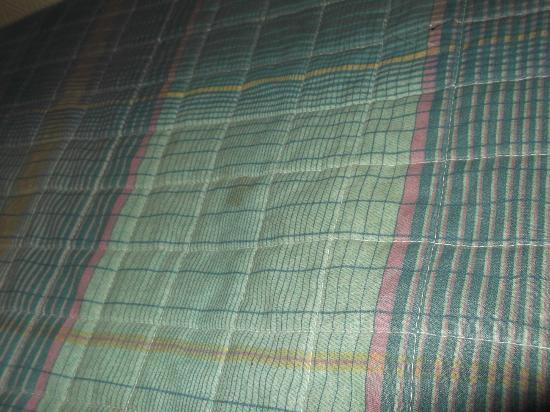 Hotel Amarys Simart: stains on top cover sheet and on the blankets below this.