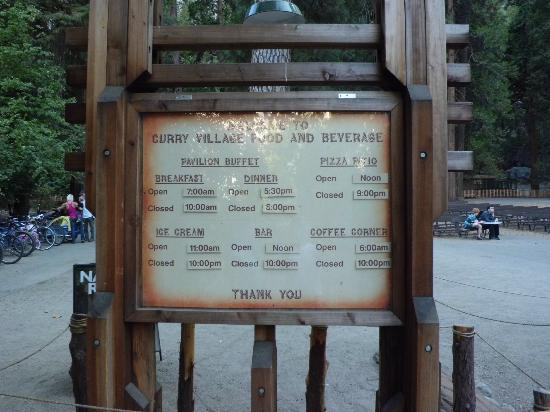 Half Dome Village: Timetable