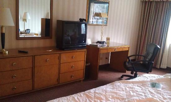 LaGuardia Plaza Hotel - New York: Plenty of drawer, desk and closet space, old TV.