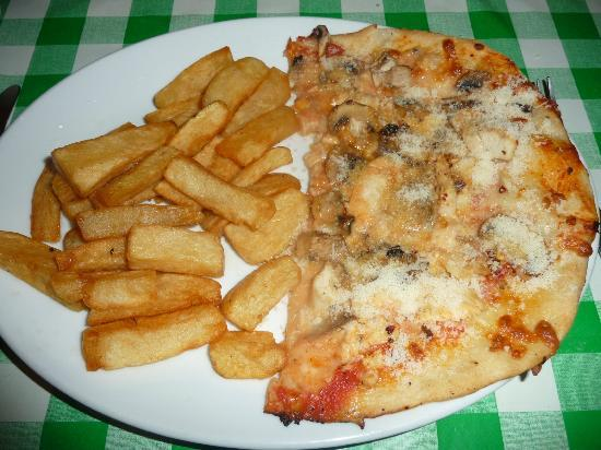 Mamma Mia: Chicken Pizza and Chips (once i'd coated it in palmesan)