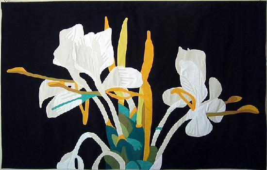 "Atiu Fibre Arts Studio: Appliqué wall hanging ""White Ginger"""