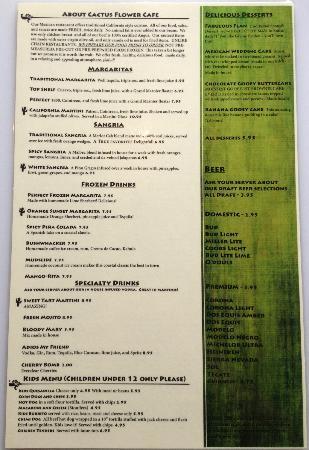 Cactus Flower Cafe: Back of Menu
