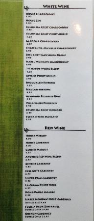 Cactus Flower Cafe: Wine List