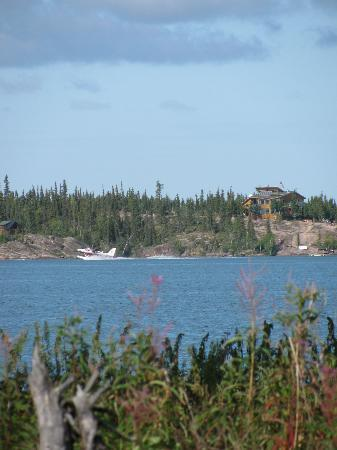 Blachford Lake Lodge: View of the lodge from a little island to which we canoed.
