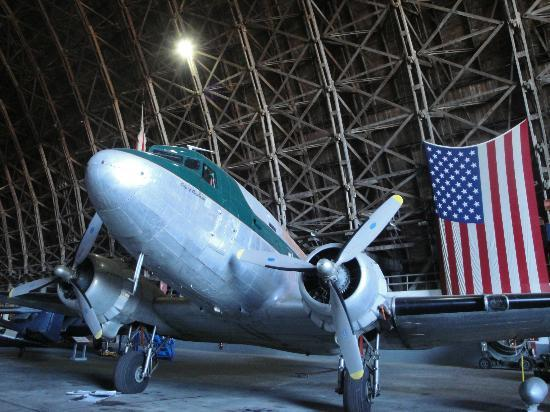 Tillamook Air Museum: The DC3 and wooden structure of the building.