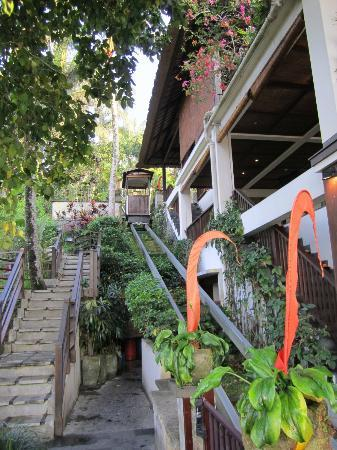 Hanging Gardens of Bali: Stairs and inclinator