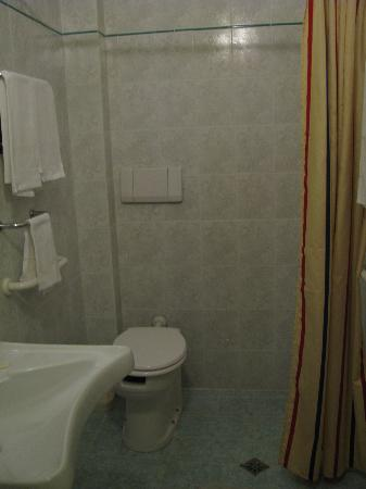 Hotel Alinari: The toilet gets wet when you have a shower.