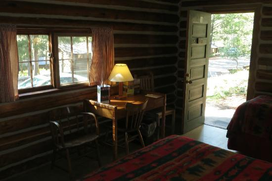 Colter Bay Village: Windows, desk, and front door