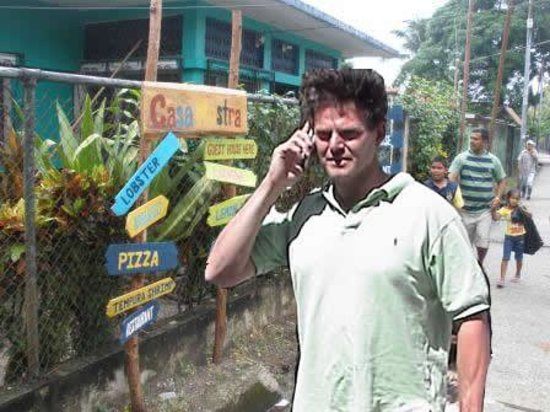 Casa Nostra: Stuart, the owner taking a reservation on the phone