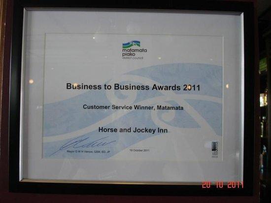 Horse and Jockey Inn : Award winning restaurant