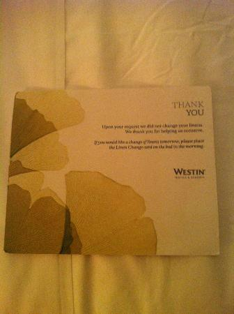 The Westin Athens Astir Palace Beach Resort: room message