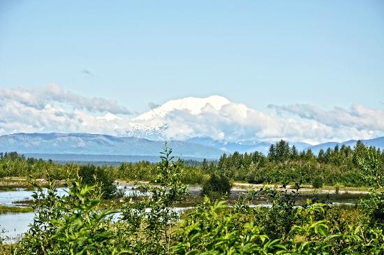 Susitna River Lodging: View of elusive Mt. Denali from our porch