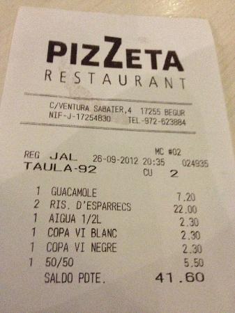 Pizzeria Pizzeta : Proof that it wasn't expensive - the guacamole is fabulous!