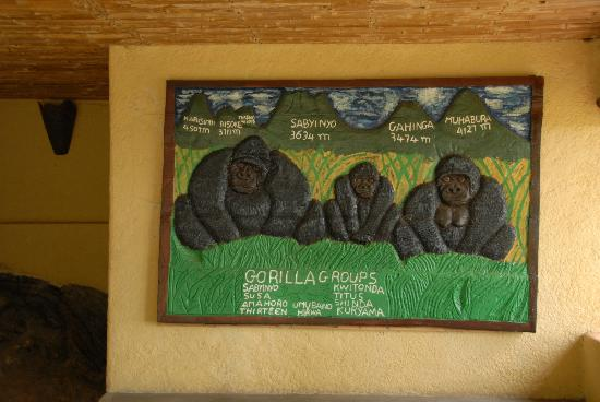 Sabyinyo Silverback Lodge: the hand-crafted carved relief showing the five volcanoes & names of gorilla families