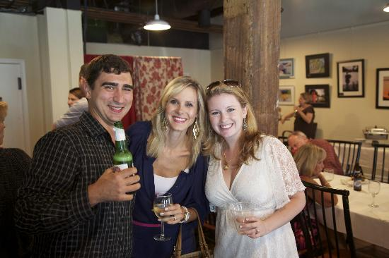 Red Hen Coffee House & Cafe: My husband and I, with a friend, at the Red Hen rehearsal party