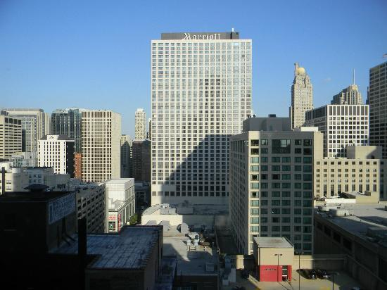 View of roof top track across the street from our room - Hilton garden inn grand ave chicago ...