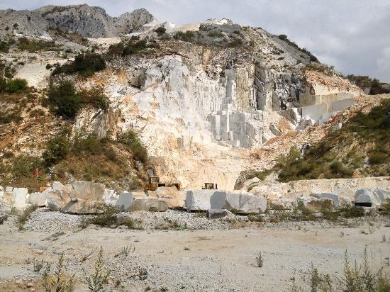 Carrara Marble quarry viewed from Colonnata, Italy  Just