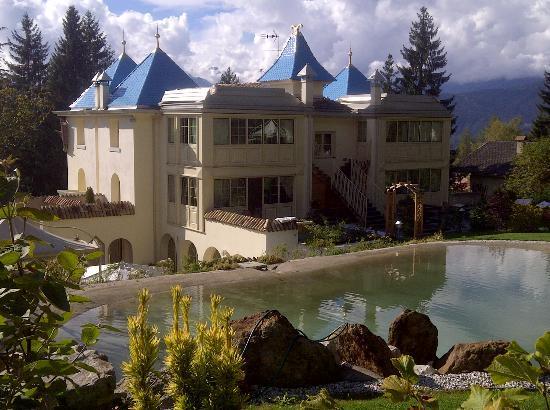 Villa Orso Grigio: vista retro albergo dal bosco