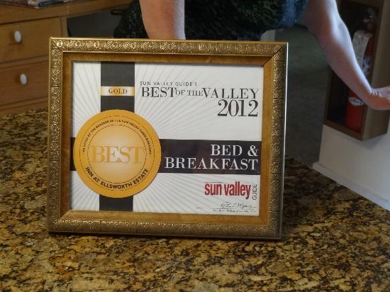 The Inn at Ellsworth Estate: The Best Bed and Breakfast Award for 2012 Roni received in August.