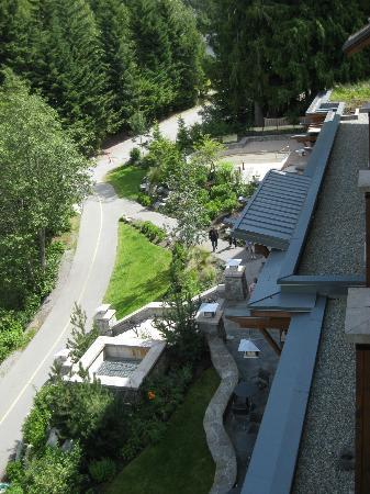 Nita Lake Lodge: View of the bike trail from our balcony.