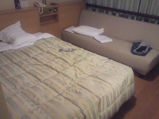 Osaka Castle Hotel : ダブルベッドにソファー