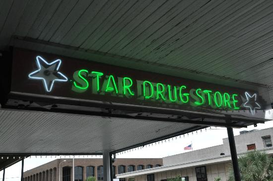 Star Drug Store: Sign over door entrance