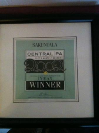 Sakuntala Indian Restaurant: Winner of Best Indian Restaurant in Central PA