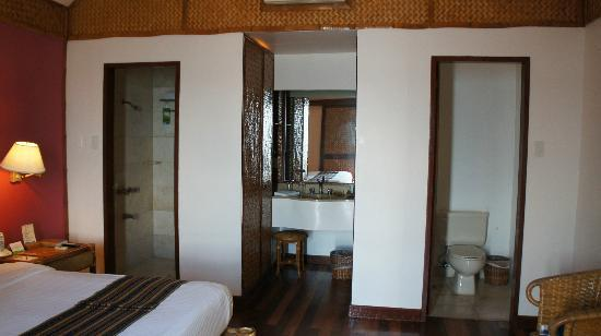Pearl Farm Beach Resort: shower area and toilet