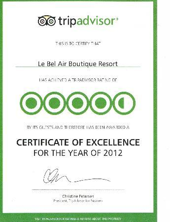 Le Bel Air Boutique Resort: The Certificate of Excellence for the year of 2012