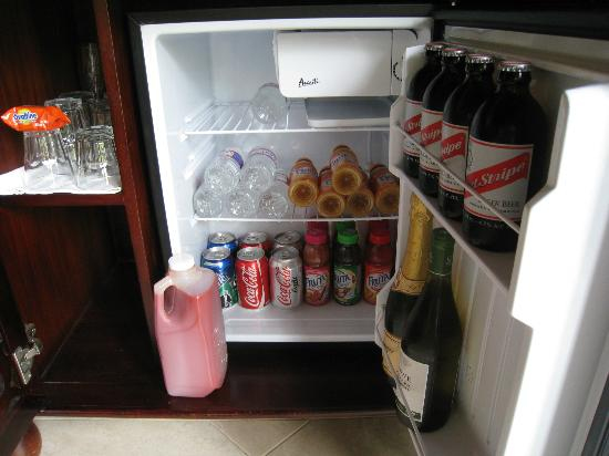 Sandals Negril Beach Resort & Spa: Our refrigerator filled with good things to drink!