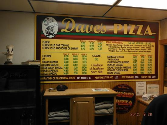 Dave's Pizza: Menu board for take out