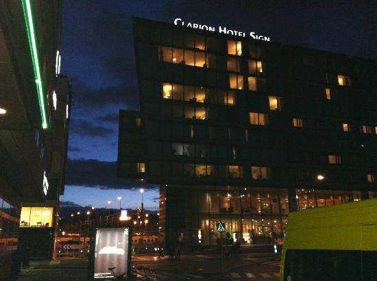 Clarion Hotel Sign: Hotel from Norra Bantorget square