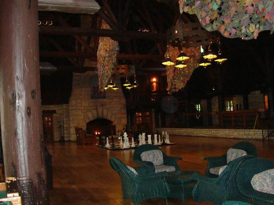Pere Marquette Lodge & Conference Ctr, BW Premier Collection: Fireplace and giant chess pieces in the lodge