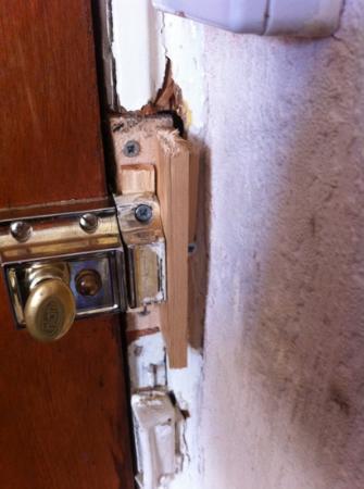 Crooked Retreat: the lock in bedroom