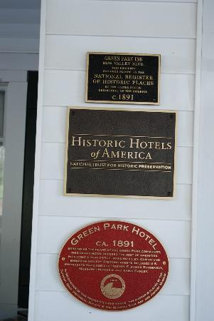The Green Park Inn: Historic markers