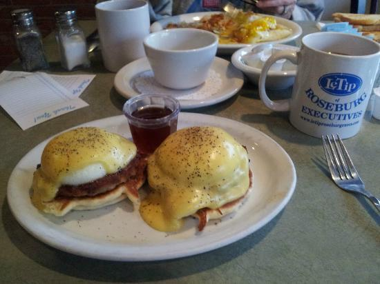 Roseburg, OR: Pancake Eggs Benedict - just try it!