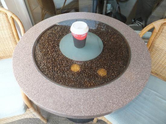 Wondrous Tea On The Coffee Bean Filled Glass Table Outside Cafe Inzonedesignstudio Interior Chair Design Inzonedesignstudiocom