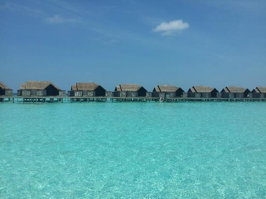 Anantara Kihavah Maldives Villas: the view from the water near the water villas