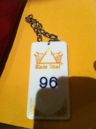 Sala Thai : Cloakroom tag
