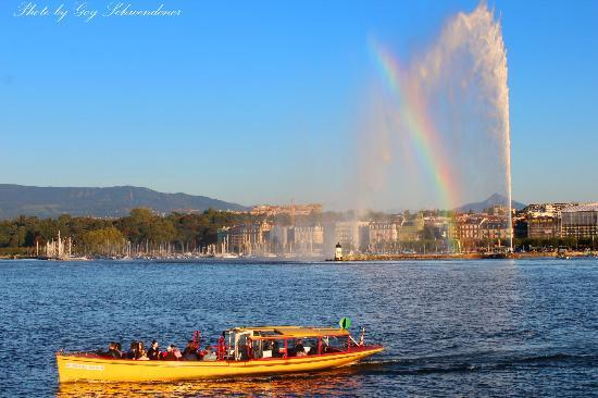 Jet d'Eau Geneva in the afternoon sun.