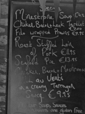 The Bold Thady Quill : Menu of the day