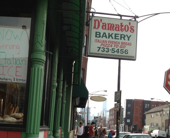 D'Amato's Bakery: Entrance corner of Grand and May St.